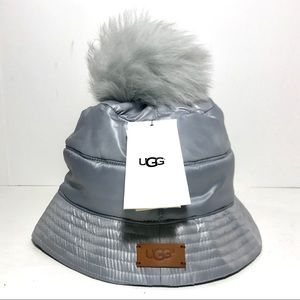 UGG All Weather Bucket Hat With Pom Silver NWT